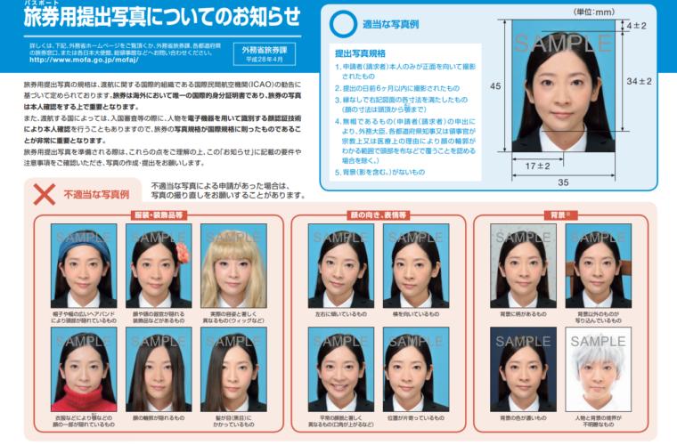 パスポート申請に必要な写真